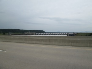 This dam was filled to overflowing by all the rain in Oklahoma.