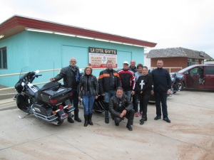 This group of riders are from Hungary, they are going along old Route 66 from Chicago to Los Angeles.