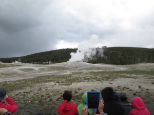 Old Faithful erupting.