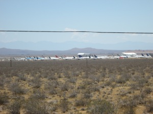 Airplanes parked in the desert.