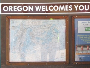 I looked everywhere, this is the only sign I found that said anything about welcome to Oregon.